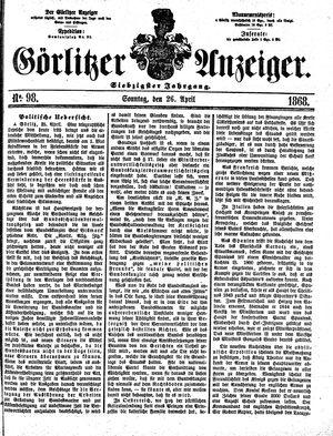 Görlitzer Anzeiger vom 26.04.1868