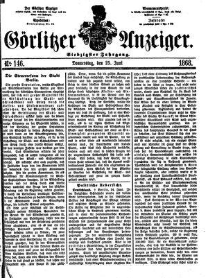 Görlitzer Anzeiger vom 25.06.1868