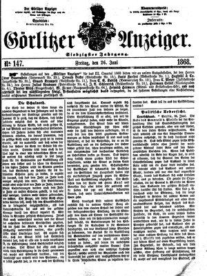 Görlitzer Anzeiger on Jun 26, 1868