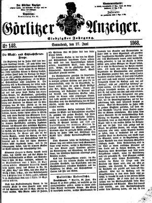 Görlitzer Anzeiger vom 27.06.1868