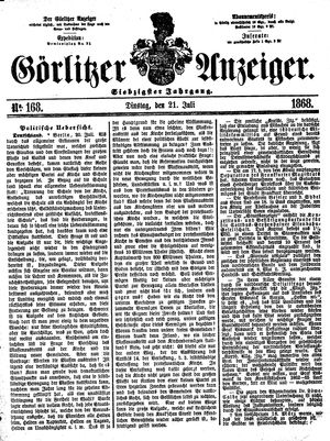 Görlitzer Anzeiger vom 21.07.1868