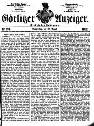 Görlitzer Anzeiger on Aug 20, 1868