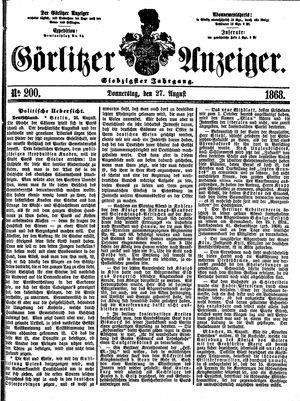 Görlitzer Anzeiger vom 27.08.1868