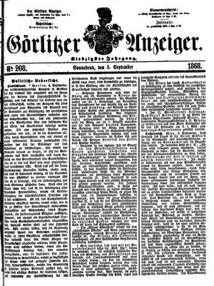 Görlitzer Anzeiger vom 05.09.1868