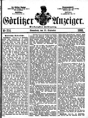 Görlitzer Anzeiger vom 12.09.1868