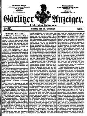 Görlitzer Anzeiger vom 13.09.1868