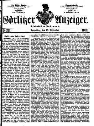 Görlitzer Anzeiger vom 17.09.1868