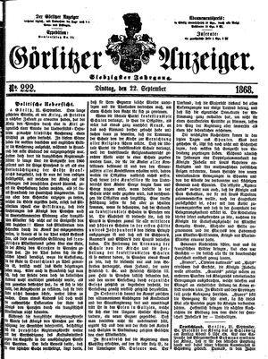 Görlitzer Anzeiger vom 22.09.1868