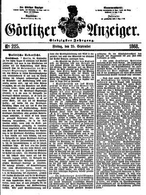 Görlitzer Anzeiger vom 25.09.1868
