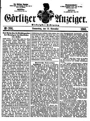 Görlitzer Anzeiger vom 12.11.1868