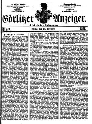 Görlitzer Anzeiger on Nov 20, 1868