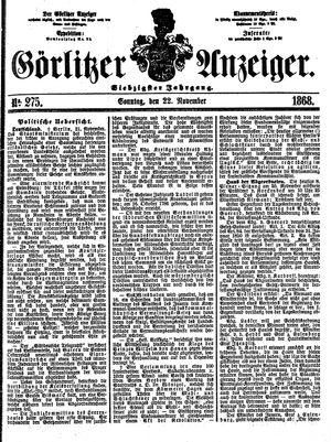 Görlitzer Anzeiger vom 22.11.1868