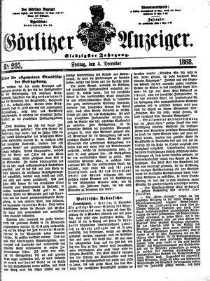 Görlitzer Anzeiger vom 04.12.1868