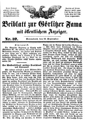 Görlitzer Fama on Sep 16, 1848