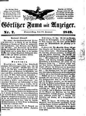 Görlitzer Fama on Jan 18, 1849