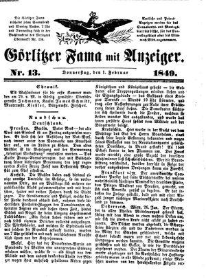 Görlitzer Fama vom 01.02.1849