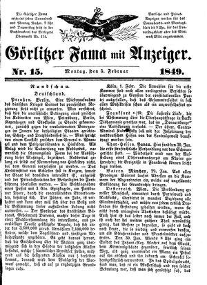 Görlitzer Fama vom 05.02.1849