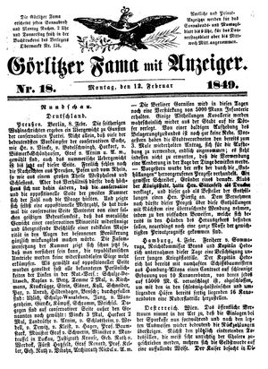 Görlitzer Fama vom 12.02.1849