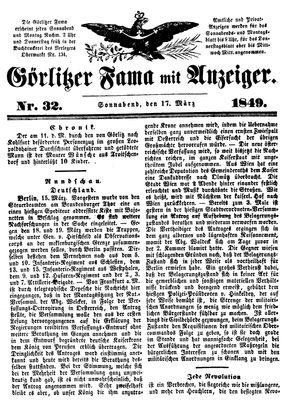 Görlitzer Fama vom 17.03.1849