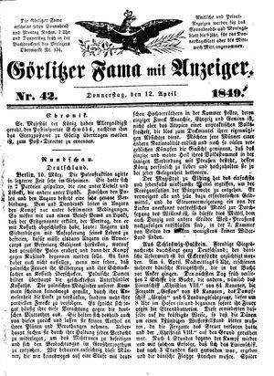Görlitzer Fama vom 12.04.1849