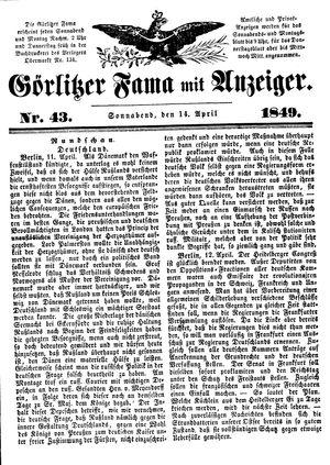 Görlitzer Fama vom 14.04.1849