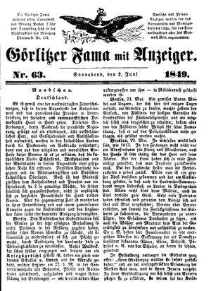 Görlitzer Fama vom 02.06.1849