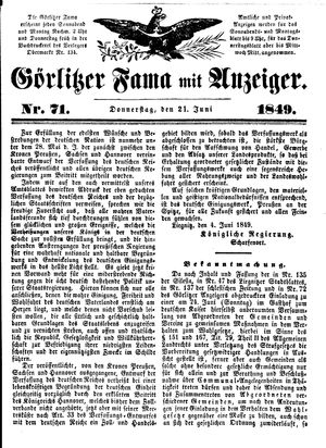 Görlitzer Fama vom 21.06.1849