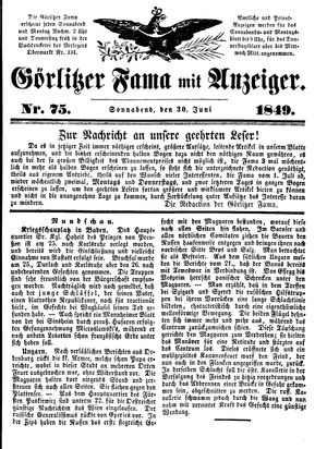 Görlitzer Fama vom 30.06.1849