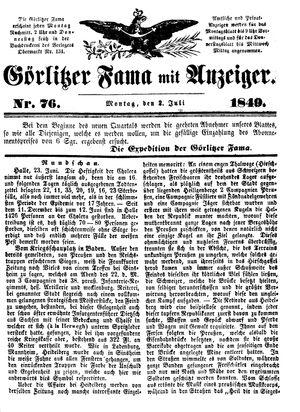 Görlitzer Fama vom 02.07.1849