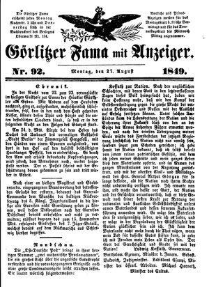 Görlitzer Fama vom 27.08.1849