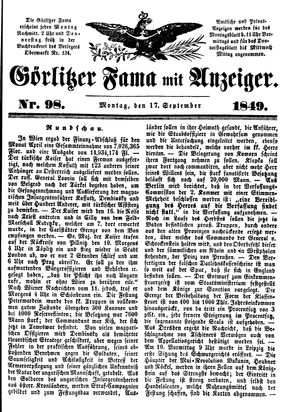 Görlitzer Fama vom 17.09.1849