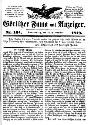 Görlitzer Fama vom 27.09.1849
