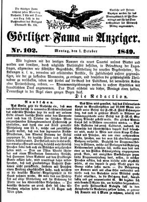 Görlitzer Fama vom 01.10.1849
