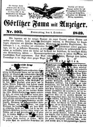 Görlitzer Fama vom 04.10.1849