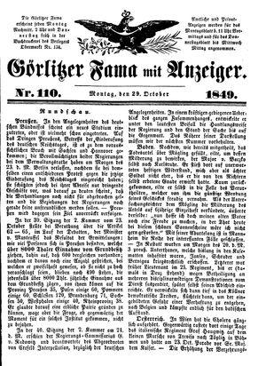Görlitzer Fama on Oct 29, 1849