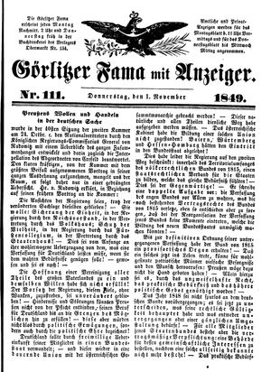 Görlitzer Fama vom 01.11.1849