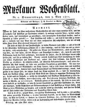 Muskauer Wochenblatt vom 03.05.1821