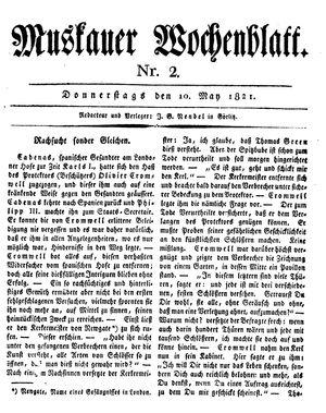 Muskauer Wochenblatt vom 10.05.1821