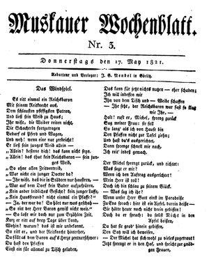 Muskauer Wochenblatt vom 17.05.1821