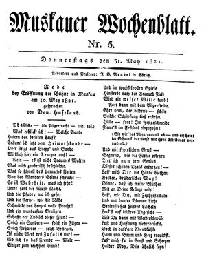 Muskauer Wochenblatt on May 31, 1821