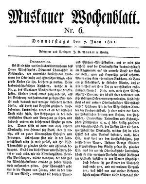 Muskauer Wochenblatt vom 07.06.1821