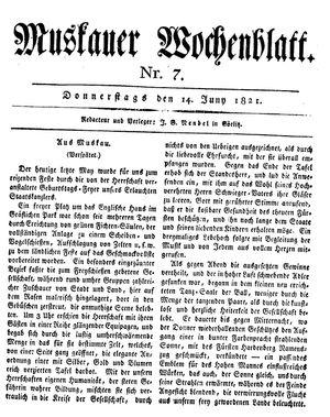 Muskauer Wochenblatt vom 14.06.1821
