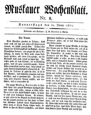 Muskauer Wochenblatt vom 21.06.1821