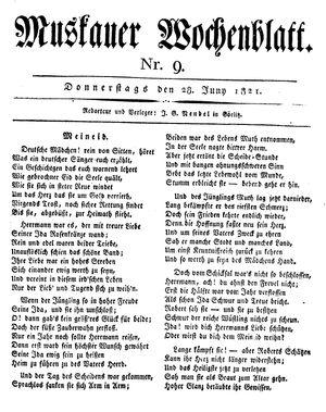 Muskauer Wochenblatt vom 28.06.1821