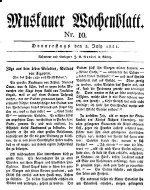 Muskauer Wochenblatt on Jul 5, 1821