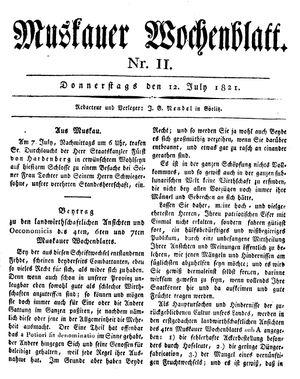 Muskauer Wochenblatt vom 12.07.1821