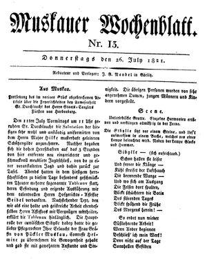Muskauer Wochenblatt vom 26.07.1821