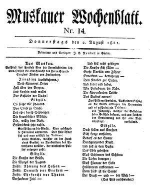 Muskauer Wochenblatt vom 02.08.1821