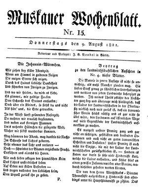 Muskauer Wochenblatt vom 09.08.1821