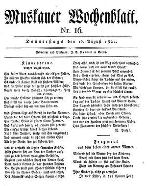Muskauer Wochenblatt vom 16.08.1821